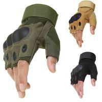 Deporte al aire libre táctico ejército de Airsoft de disparo de combate de bicicletas guantes sin dedos Paintball duro carbono nudillo del dedo de la bicicleta