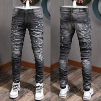 Hombres Negro Gris Pintado vaqueros elásticos del dril de algodón pantalones de hombre de la manera NUEVO ajuste delgado estiramiento Efecto