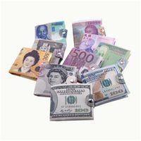 Kreatives Geld Druck Muster Brieftasche Schnalle Brieftasche Aufbewahrungspaket Dollar Sterling Euro Rubel Form Schnalle Münze Geldbörse Kostenloser Versand