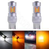 2 stücke 1157 / BAY15D 3157 7443 Led-lampen Bremse Blinker Licht Extrem Helle Bernstein / Weiß Dual Color Switchback Led Mit Linse