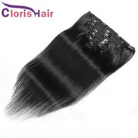 Clip In Human Hair Extensions Peruvian Silky Straight 120g 1...