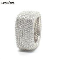 Kadınların Erkekler Takı için Vecalon Lüks Promise Yüzük 925 gümüş mikro açmıştı 450pcs Elmas Taşlı Nişan Düğün bant yüzük
