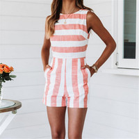 Women Jumpsuit 2019 Sleeveless Strap Striped Summer Womens J...