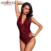 SEBOWEL Seksi Siyah / Kırmızı / Beyaz Kolsuz Dantel Bodysuit Kadınlar Derin V Bodysuits Dişil Şeffaf BODYCON Vücut Tops Hollow-out
