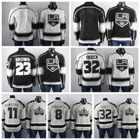 dos homens bordados Los Angeles Reis Jerseys Drew Doughty Jersey Dustin Brown Jonathan Quick Anze Kopitar Black Ice Hockey Jerseys costurado