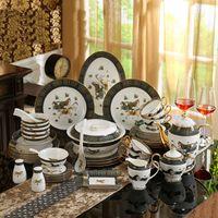 Set de vajillas de porcelana Hueso China DIOS Caballos de los caballos Desinfline en oro 58pcs Juegos de vajilla Conjunto de cena Conjunto de café Conjuntos de café Regalo de boda