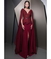 Burgundy Mermaid Lace Evening Dresses With Long Sleeves V Ne...