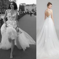 2019 Günstige Weiß A-Line New Auf Lager Elegante Hochzeitsempfang Party Kleider 3D Blumenapplikationen Backless Strand Formal Plus Size Brautkleid