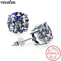 클래식 4 발톱 귀걸이 3ct 다이아몬드 925 스털링 실버 파티 결혼식 스터드 귀걸이 여성용 패션 쥬얼리