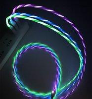 cabo de dados Streamer para o telefone móvel Tipo-C Android linha de carregamento LED cabo de telefone celular luz DHL livre