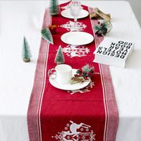 170 * 35cm Décorations de Noël Nappe Coton Lin broderie Elk Imprimé Table Drapeau Fête de Noël de Noël de table de fournitures DHL WX9-1713