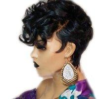 Curto Pixie 13x6 Remy brasileiro do cabelo humano perucas para mulheres Bouncy Curly Glueless Cor Preto (Side Bangs Cut) 150% Densidade