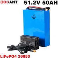 3.2V LiFePo4 Batería 26650 celda 51.2V 50AH E-bike batería de bicicleta eléctrica 16S 51.2V para 1500W 2000W 3000W Motor con 5A cargador