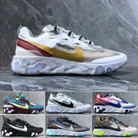 Hot Sale 2019 React Element 87 Running Shoes For Men Women White Black NEPTUNE GREEN Blue Mens Trainer Design Breathable Sports Sneakers Z40