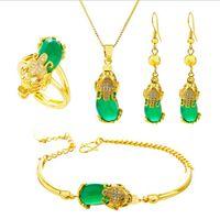 Chapado en oro suerte PIXIU joyería Conjunto Vietnam Arena de oro de cuatro piezas colgante animal Fengshui mujeres joyería