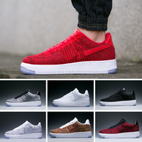 NIKE AIR FORCE 1 FLYKNIT LOW Melhor designer forcs Homens Mulheres Low Cut One 1 calça All Branco Preto forcd 1s Shoes clássico AF Fly Trainers alta Knit Sneaker TE03