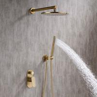 الذهب المصقول حمام دش مجموعة 8-10 بوصة rianfall رأس دش الحنفية الحائط دش ذراع خلاط كلبشة