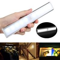 Hareket Sensörü Gece Işık İçme 10 LED Dolap Işıkları Akülü Kablosuz Kabine IR Kızılötesi Hareket Dedektörü Duvar Lambası 20 adet AAA1905