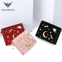Para Çanta 2019 yeni fermuar WILLIAMPOLO cüzdan kadın cüzdan Kadife Starry tasarım mini Bayan cüzdan ince çanta moda