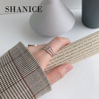 SHANICE 925 Silver Cross Ring Anillos Jewelry Vintage INS Simple Letter Girlfriend Gift Three-layer Hollow Femme Rings for Women