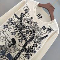 19FW вязаные свитера повелительницы женщин Джунгли Тигр кашемира Толстовка Свитера Пуловеры Streetwear Открытый двойной стороне