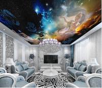 Özel 3D Photo Duvar kağıdı Athena tanrıça yıldızlı gökyüzü başucu duvar Tavan Duvar Salon Yatak Odası Duvar Kağıdı Ev Dekorasyonu Boyama