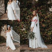 Свадебные платья в богемном стиле с разрезом 2019 Просто дизайн пятно с длинным рукавом Полная длина Страна Лесной Свадебное платье