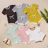 Kinder-Baby Shorts Suits 6 Farben Fest-T-Shirt für Kinder Tops Kinder Designerkleidung für Mädchen-Kleinkind-Jungen Splice Outfits Infant Lässige Kleidung