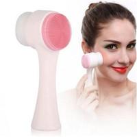 2021 Neue zweiseitige Silikon-Gesichts-Peeling-saubere Gesichtsreiniger-Pinsel Hautpflege Waschbürste Massagegerät Pore Cleaner Wash Gesicht Makeup Pinsel