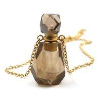 5 قطع مطلية بالذهب سموكي كوارتز ربط سلسلة neclace زجاجة العطور قلادة الصخرة الكريستال الأزياء والمجوهرات