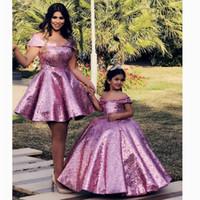 Vestidos de concurso de niña 2020 Modesta lentejuelas de encaje Flor de encaje Vestidos de fiesta formal para adolescentes Niños Madre e hija Hecho a medida