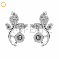 925 Sterling Silver Zircon Pearl Mounts Charms Leaves Stud E...