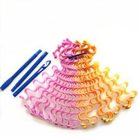 18 adet 55 cm Saç Curlers Sihirli Styling Kiti Stil Kancalar Ile Isı Yok Saçlar İçin Isıtsız Dalga Eski