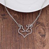 1 amor coração elk cabeça pequena arte fresca fã elfo chifres pingente colar animal raposa cervos charme charme amuleto mulher mãe homens homens presentes jóias