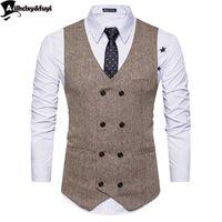 Старинные коричневые Tweed Vests шерсть эррингбена британский стиль на заказ мужской костюм портной тонкий подходит пиджак свадебные костюмы для мужчин