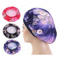 New women Metallic print Wide Band Hair Caps Silky Bonnet Cap Soft Night Sleep Hat Ladies Turban Hair Styling Accessories