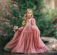 Rosewood A Ligne Fleur Girl Robes Mariages Mariages à manches longues Dentelle Girls Pageant Robe De Plancher Longueur Enfants Robe de fête d'anniversaire