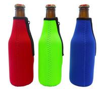 Bierflasche Sleeve Neopren-Isolierung Taschen Halter Zipper Soft Drinks Abdeckungen mit genähter Stoffkanten Bareware Werkzeug 4Colors100pcs LQPYW942
