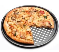 Aço Carbono-antiaderente Pizza Baking Pan Bandeja 32 cm Placa de Pizza Pratos Titular Bakeware Casa Cozinha Ferramentas de Cozimento