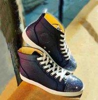 زرقاء داكنة العجل الأفعى جلد + نوع من الكريستال حجر الراين حذاء أحمر أسفل حذاء رياضة عال علوي حذاء رجل Sneake المدربين سوبر الجودة