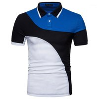 Mens Designer Polo sottile casuale del risvolto del collo Manica Corta Polo magliette estate del Mens Tops colore Patchwork