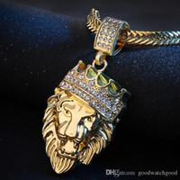 designer de jóias para fora congelado correntes correntes de ouro para os homens colar de pingente delicado jóias de personalidade Tag completa para fora congelado Rhinestone Lion