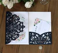 독특한 레이저 컷 결혼식 초대장 카드 고품질 개인화 된 중공 꽃 신부 초대 카드 새로운 청첩장 카드