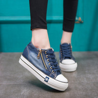 Hot Sale- high quality new height increase thick denim canvas shoes women's fashion shoes Ladies sneakers Color mixing EUR 35-41