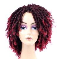 6 pouces Dreadlocks court perruque bouclée Twist 190g / pc Ombre Brown pour le noir blanc femmes et les hommes afro bouclés perruque synthétique