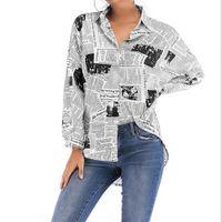 Blusa suelta de las mujeres Divertido Impresión Periódico Blusa de manga larga Bolsa Tops Lady V Cuello Camisas Carta Casual Verano Nuevo Estilo Gris