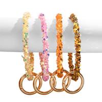Silicone pulso chaveiro moda glitter bracelete esportes chaveiros pulseiras pulseiras mãos redondas chaveiros moda grande o keyring jóias