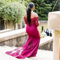 Abiti da damigella d'onore fucsia Plus Size Off spalla maniche lunghe Mermaid Wedding Guest Dress African Women abbigliamento formale. Maid Of Honor Gowns