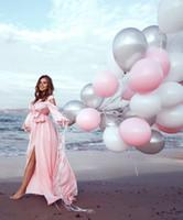 ألف خط الشيفون زائد الحجم Blus الوردي مسلم فساتين سهرة طويلة الأكمام قطع الجانبين طويل حفلة موسيقية فساتين الأمومة الحوامل