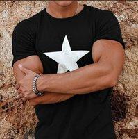 2019 weise neue europäische und amerikanische Herren Rundhals Top fünf zackigen Stern gedruckt Herren Kurzarm-T-Shirt
